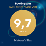 Natura Villas received an award from Booking for the year 2018
